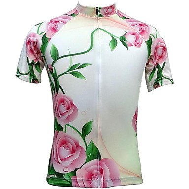 JESOCYCLING Women's Short Sleeves Cycling Jersey Floral / Botanical Bike Jersey, Quick Dry, Breathable