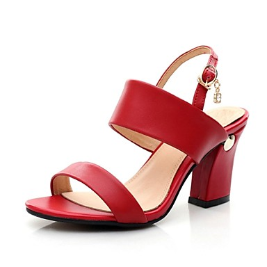 Γυναικείο Παπούτσια Τρίχωμα Μόσχου Καλοκαίρι Λουράκι στη Φτέρνα Κοντόχοντρο Τακούνι Αγκράφα Για Φόρεμα Μαύρο Λευκό Κόκκινο