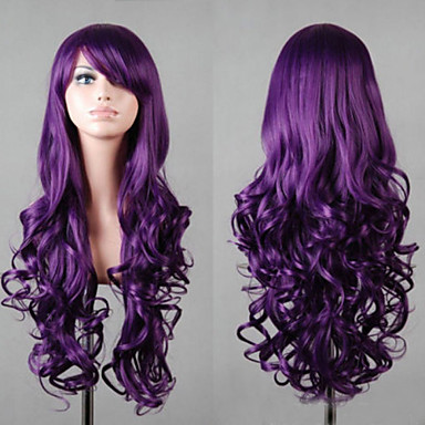Women Synthetic Wig Long Violet With Bangs Cosplay Wigs Costume Wig