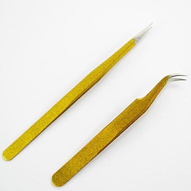 Kavisli 2adet (& düz şekli) altın rengi profesyonel bir anti-asit çelik çivi sanat cımbız& Manikür aracı pense