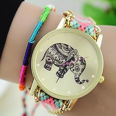 Dames Modieus horloge Armbandhorloge Kwarts Stof Band Bohémien Meerkleurig Zwart Grijs Blauw Roze