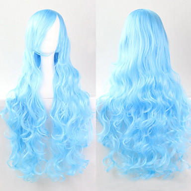 Synthetic Wig Curly Style Capless Wig Blue Synthetic Hair Wig