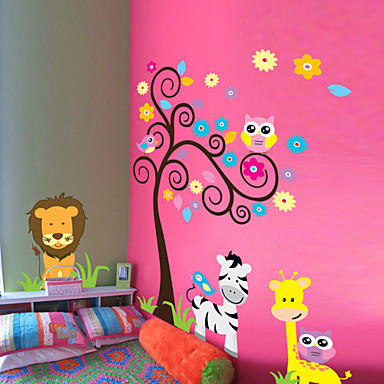 Wall Stickers Wall Decals, Style The Owl Tree Zebra Lion Animal PVC Wall Stickers
