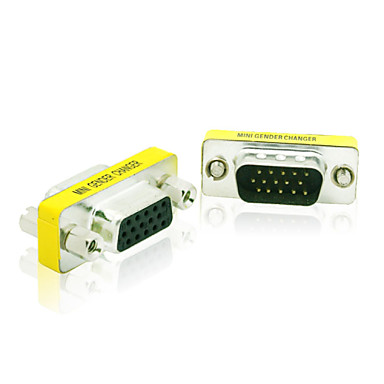 15 Pin DB15 HD SVGA VGA Male to Female 15 Pin M/F Monitor Gender Changer Coupler Adapter Connector