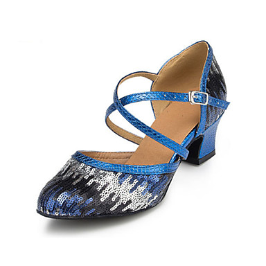 Women's Latin Flocking Sandal Heel Beginner Indoor Sequin Chunky Heel Blue 1