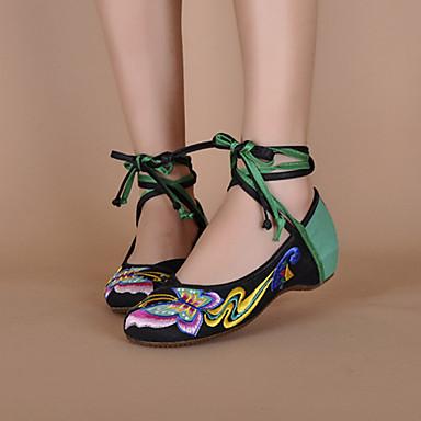 여성용 구두 캔버스 봄 여름 수 놓은 신발 발목 끈 플랫 용 스플리트 조인트 레이스-업 블랙 레드