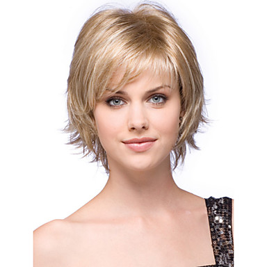 İnsan Saçları Kapsız Peruklar Gerçek Saç Dalgalı Bob Saç Kesimi / Katmanlı Saç Kesimi / Bantlı Yan Parti Şort Bonesiz Peruk Kadın's