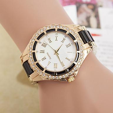 Women's Quartz Wrist Watch Imitation Diamond Metal Band Simulated Diamond Watch Elegant Fashion Black White Blue Red