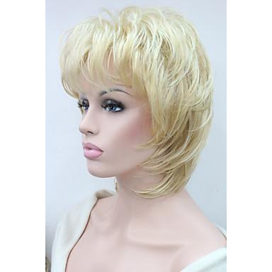 Szintetikus parókák Hullámos Réteges frizura Sexy Lady Szőke Női Sapka nélküli Természetes paróka Közepes hosszúságú Szintetikus haj