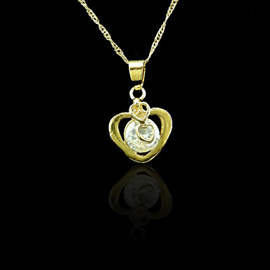 18K Real Gold Plated Zircon Heart Pendant Necklace