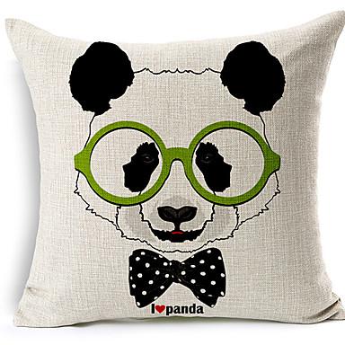 Modern Style Panda glasses Patterned Cotton/Linen Decorative Pillow Cover