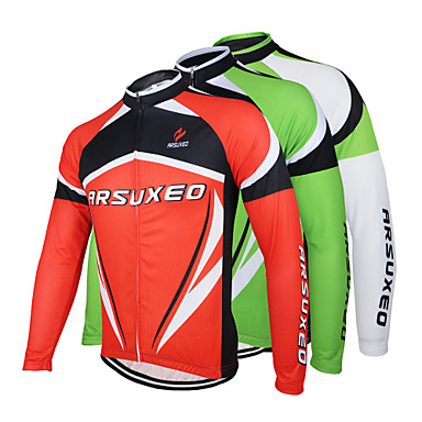 Arsuxeo Men's Long Sleeves Cycling Jersey - White Red Green Bike Jersey, Quick Dry, Anatomic Design, Breathable, Spring Summer