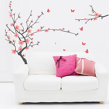 Botanik Romantizm Çiçekler Duvar Etiketler Uçak Duvar Çıkartmaları Dekoratif Duvar Çıkartmaları Malzeme Tekrar Pozisyon Ev dekorasyonu