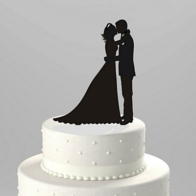 Cake Topper Garden Theme Classic Couple Acrylic Wedding Anniversary Bridal Shower with 1 OPP