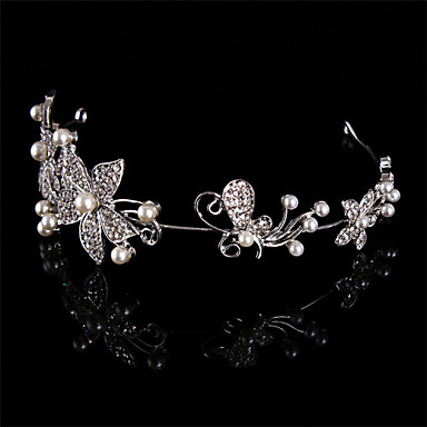 abordables Coiffes-Serre-tête Casque Mariage Perle/Argent pur/Strass Femme Mariage