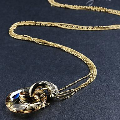 Feminino Golfinho Animal Estilo bonito Colares com Pendentes Pedras preciosas sintéticas 18K ouro Colares com Pendentes ,