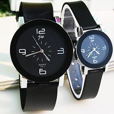 Voor Stel Dress horloge Polshorloge Kwarts / Plastic Band Vrijetijdsschoenen Cool Zwart Merk