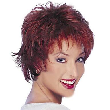Syntetiske parykker Rett Lagvis frisyre Syntetisk hår Naturlig hårlinje Rød Parykk Dame Kort Naturlig parykk / Halloween parykk Lokkløs