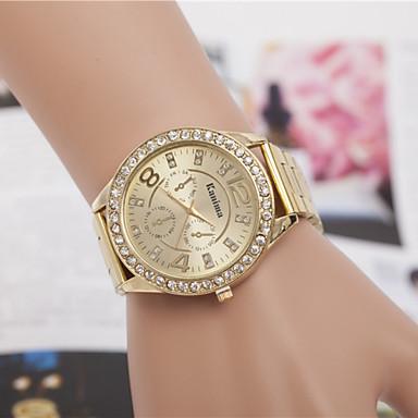 여성용 석영 손목 시계 드레스 시계 모조 다이아몬드 합금 밴드 참 빈티지 실버 골드 로즈 골드