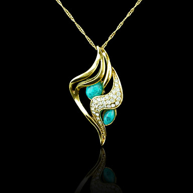 18K Real Gold Plated Turquoise Pendant 2.8*6CM