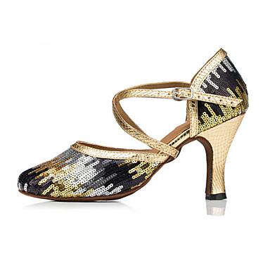 Women's Modern Flocking High Heel Sequin Stiletto Heel Gold 1