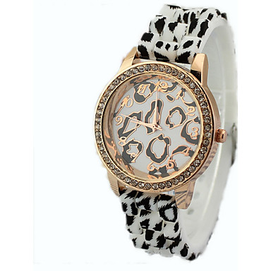 Women's Leopard diamond rubber band watches