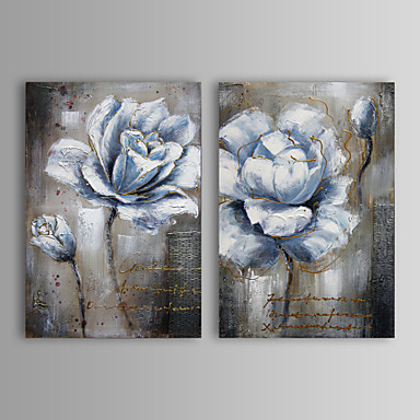 Hand-Painted Floral/Botanical Horizontal Canvas Oil Painting Home Decoration Two Panels