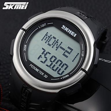 SKMEI Erkek Quartz Dijital Japon Kuvartz Dijital saat Spor Saat Alarm Takvim Kronograf Su Resisdansı Nabız Metre LCD Kauçuk Bant İhtişam