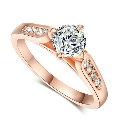 Mulheres Anel de declaração - Cristal, Zircônia Cubica, Liga Fashion 6 / 7 / 8 Prata / Dourado Para Casamento / Festa / Noivado / Diário / Casual