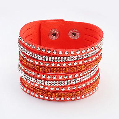 abordables Bracelet-Bracelets Plusieurs Tours Femme Strass dames Européen Mode Bracelet Bijoux Rouge Vert Bleu pour Quotidien