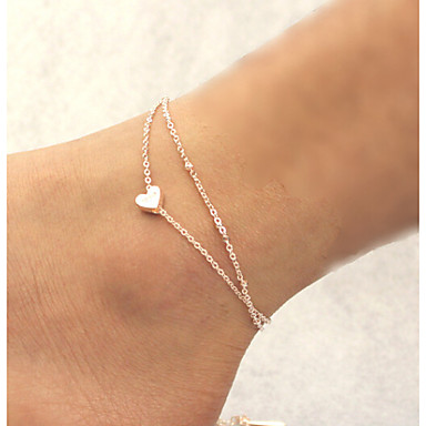 Women's Anklet / Bracelet Alloy Unique Design Love Fashion Double-layer Anklet Others Heart Jewelry For Christmas Gifts Daily Casual