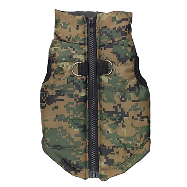 Cat Dog Coat Vest Dog Clothes Camouflage Green Terylene Costume For Pets Men's Women's Keep Warm Fashion
