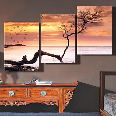 3Pcs Creative Modern E-Home® The Dead Sea Clock Clock In Analog Canvas