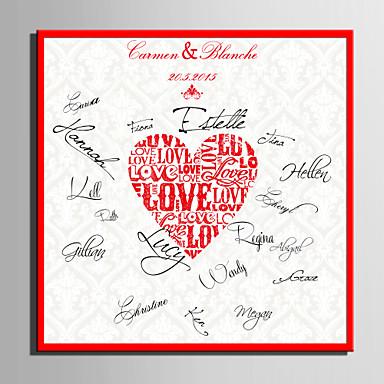 E-home® kişiselleştirilmiş imza tuval çerçeve aşk mercan düğün (çerçeve dahil)