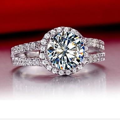 Anéis Grossos Prata de Lei Strass imitação de diamante Moda Prata Jóias Casamento 1peça