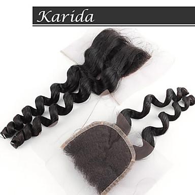 karida распущенными волосами волна закрытия дешевые кружева, класс 6а человеческие волосы высокого качества Закрытие Lace