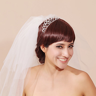 Three-tier Pencil Edge Wedding Veil Headpieces with Veil With Flower Comb Tulle