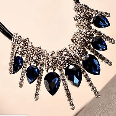 Femme Pendentif de collier Goutte Gemme Cuir Imitation de diamant Alliage Bijoux de Luxe Gris Vert Bleu Bijoux Pour