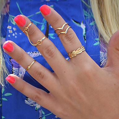 Pierścionki Codzienny Biżuteria Stop Damskie Pierścionki na palec środkowy 1set,8 Złoty / Srebrne