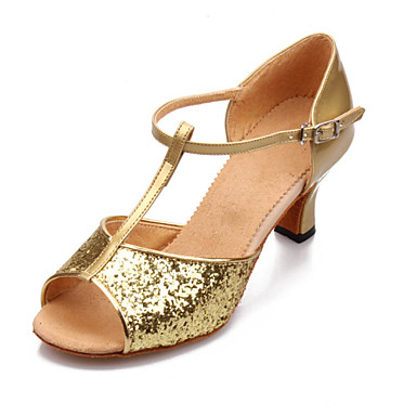 Women's Dance Shoes Latin Leatherette/Paillette Chunky Heel Black/Blue/Red/Silver/Gold