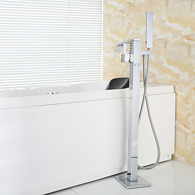 Bathtub Faucet - Contemporary Chrome Floor Mounted Ceramic Valve