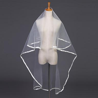 One-tier Ribbon Edge Wedding Veil Elbow Veils 53 Ribbon Tie 47.24 in (120cm) Tulle / Oval