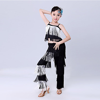 Latin Dance Outfits Children's Training Performance Polyester Tassel Sleeveless Natural Top Pants