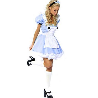 Prinsesse Eventyr Cosplay Kostumer Festkostume Kvindelig Halloween Karneval Festival / Højtider Halloween Kostumer Blå/Hvid Patchwork