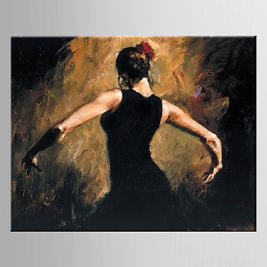 Oil Painting Hand Painted - People European Style Modern Canvas