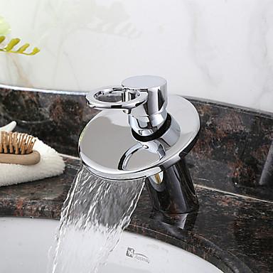 Baderom Sink Tappekran - Foss Krom Centersat Enkelt Håndtak Et HullBath Taps / Messing