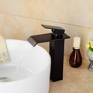Современный По центру Водопад Керамический клапан Одно отверстие Одной ручкой одно отверстие Начищенная бронза , Ванная раковина кран