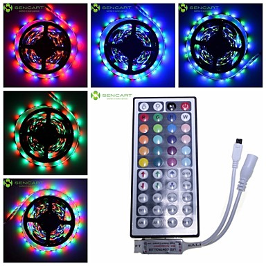 5M RGB Strip Light  30W 300-LED SMD 3528 + 44 key IR Key + DC12V 12A