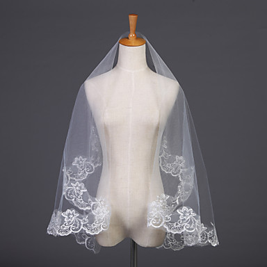 One-tier Lace Applique Edge Wedding Veil Elbow Veils 53 Embroidery 59.06 in (150cm) Tulle