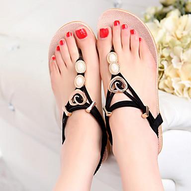 여성의 신발 인조 가죽 플랫 플립 플랍 샌달 야외/드레스/캐쥬얼 블랙/베이지